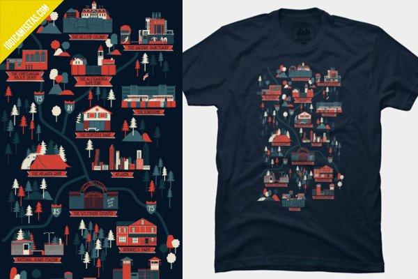 Camiseta walking dead map