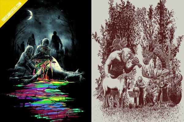 Camisetas unicornios artisticas