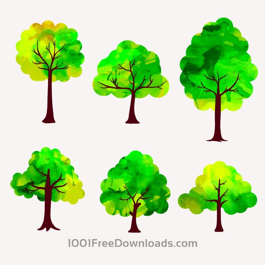 free vectors watercolor trees