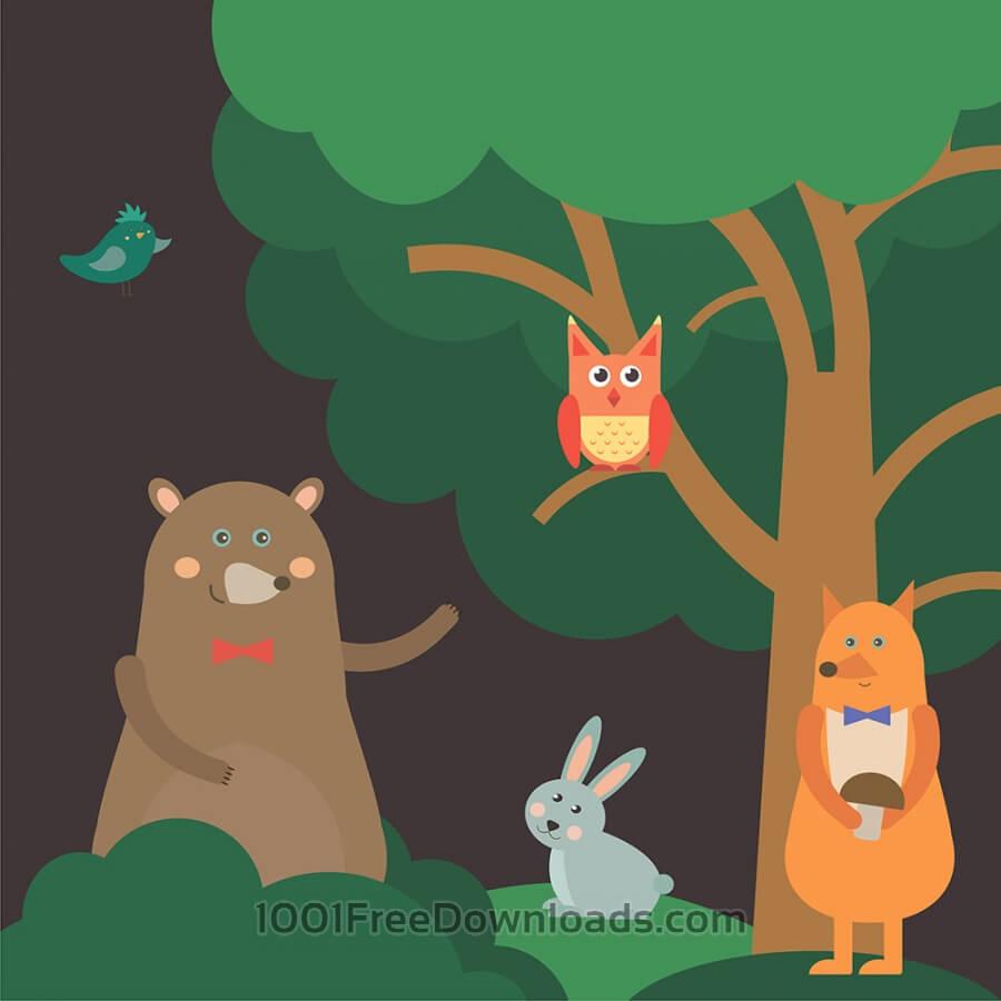 Cute Cartoon Bird Wallpapers Free Vectors Vector Illustration Of Cute Animal At Night