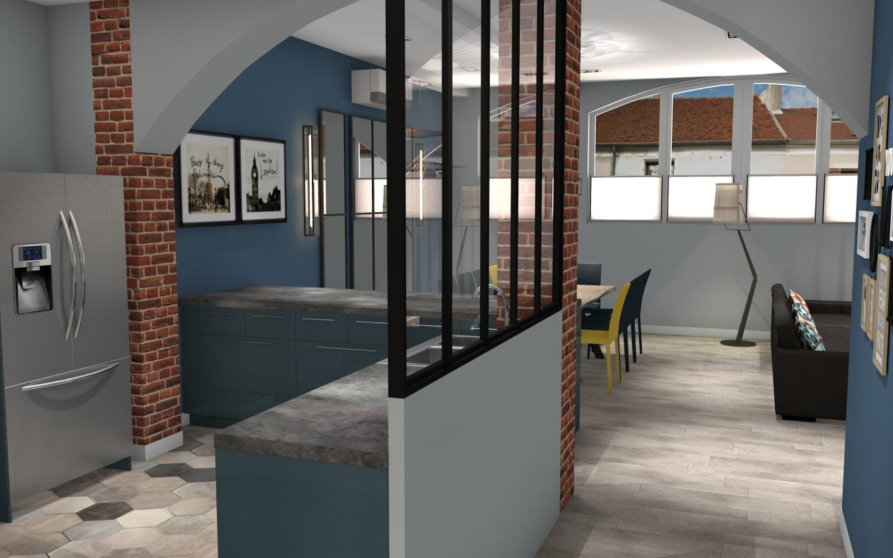 Cuisine Mur Brique | Cuisine Mur Noire Bleu Canard Jaune Meuble Gris ...