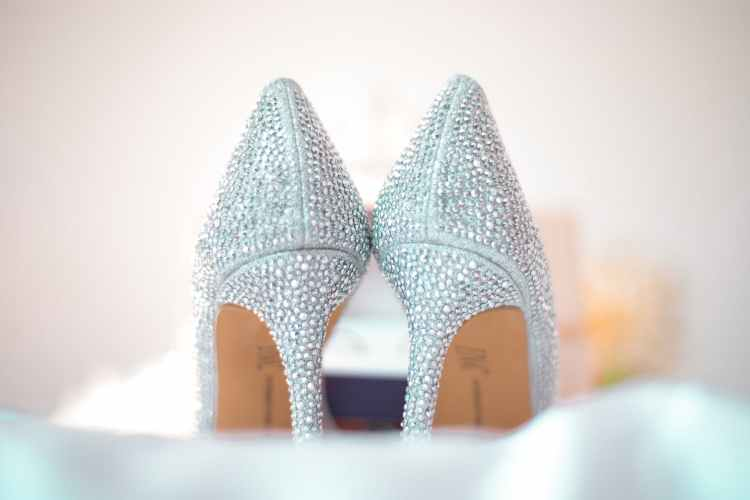 high heels covered in crystals