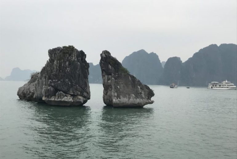 Kissing chicken rocks Halong Bay Vietnam