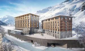 Radisson-Blu mit den nebenstehenden Gotthard Residences ©Andermatt Swiss Alps AG