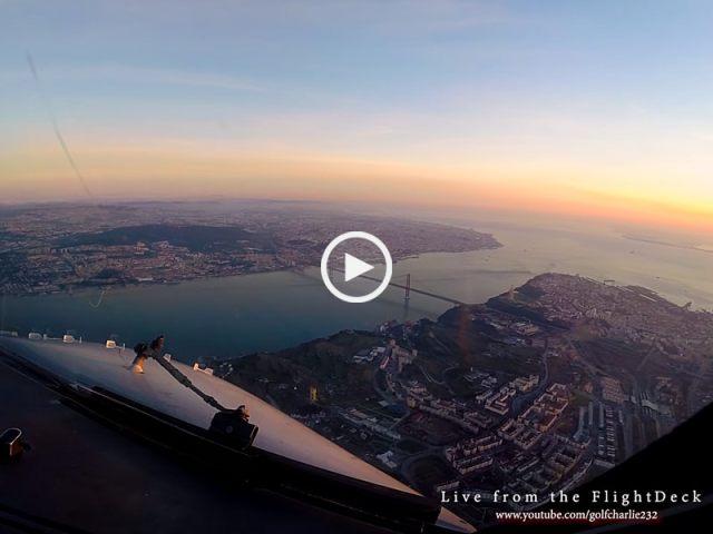 Fantástica aterragem em Lisboa ao amanhecer