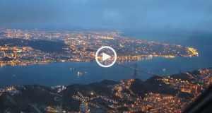 Fantástica aterragem noturna em Lisboa vista do cockpit