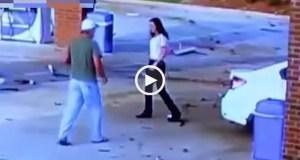 Mulher despista-se contra bomba de gasolina a 160 km/h