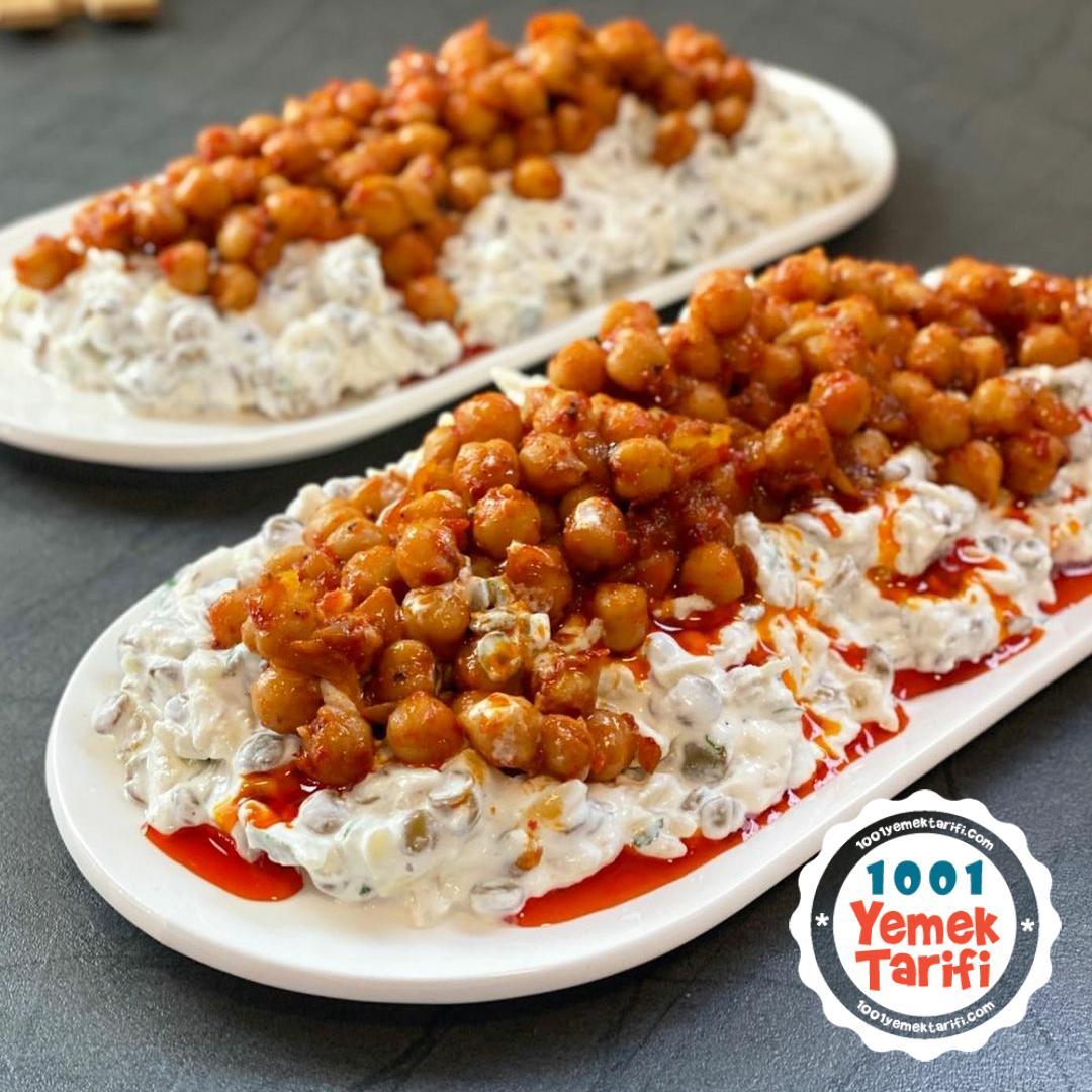 Mercimekli Yoğurtlu nohutlu Salata Tarifi-nasıl yapılır-kaç kalori