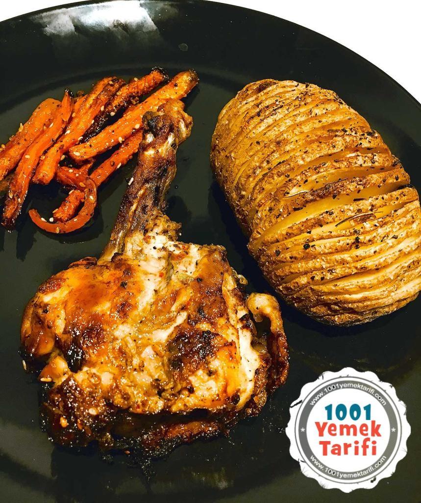 firinda soslu tavuk tarifi-firinda havuclu-patatesli soslu tavuk nasil yapilir-kac kalori