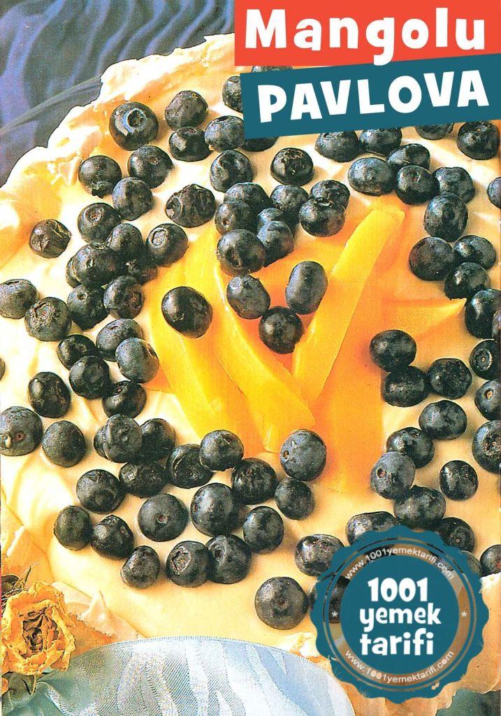 pavlova-tarifi-mango-ve-yaban-mersinli-ev yapimi-kolay meyveli-nefis tatli pasta-1001yemektarifi-adim adim fotografli resimli