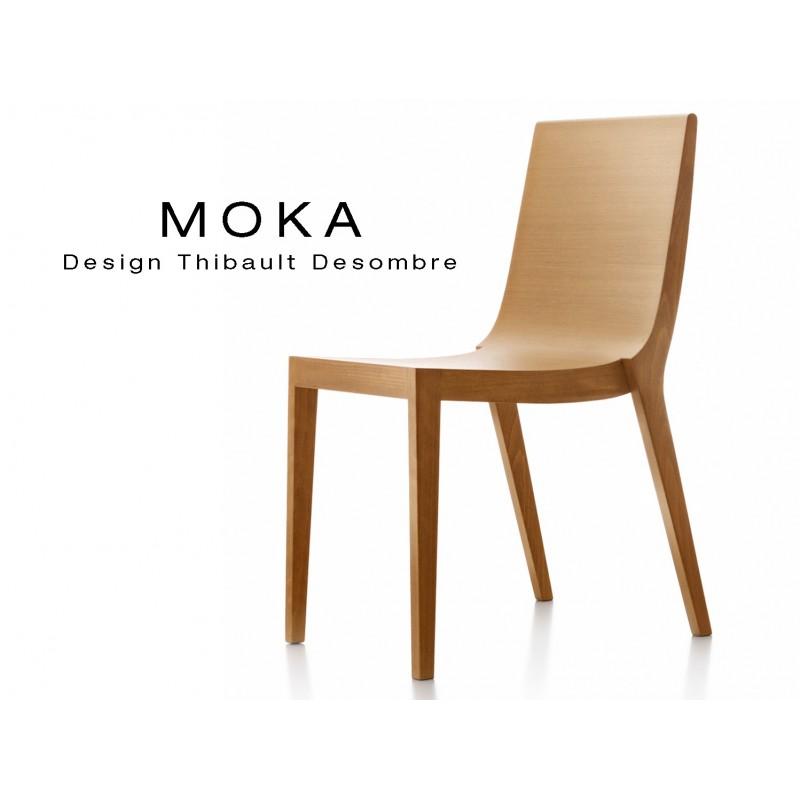 Chaise Bois Design Moka Structure Et Assise Vernis  Lot