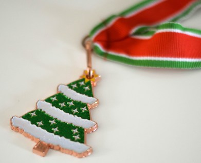 A photograph of the Christmas tree medal