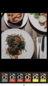A screenshot of VSCO filter options and a photograph of Emma's meal at the Old Bicycle Shop in Cambridge