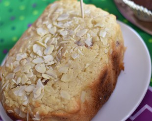 A photograph of a Cherry and Almond Loaf baked by Emma's friend
