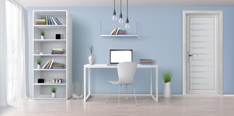 Home Office com parede azul