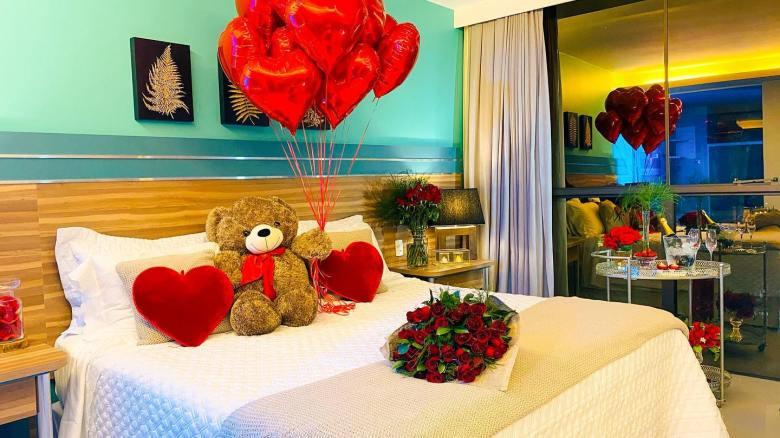 Apartamento decorado no hotel Vivaz Cataratas no dia dos namorados