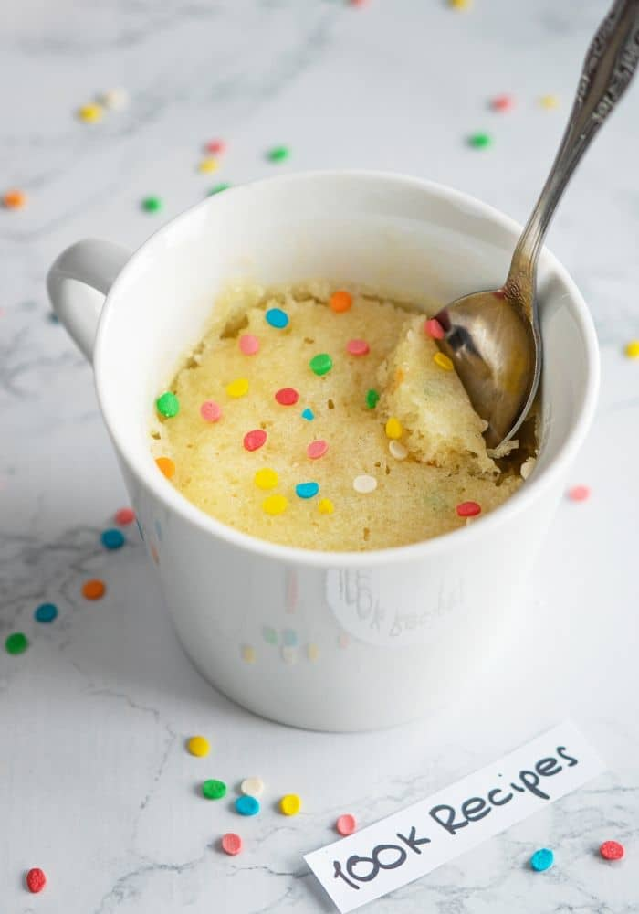 Vanilla Mug Cake Without Baking Powder : vanilla, without, baking, powder, Microwave, Vanilla, Recipe, 100KRecipes