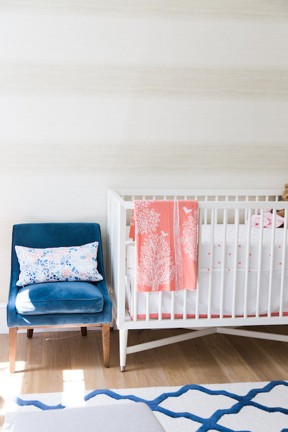 pottery barn baby rocking chair high chairs asda modern pink and blue nursery | + kids room decor 100 layer cakelet