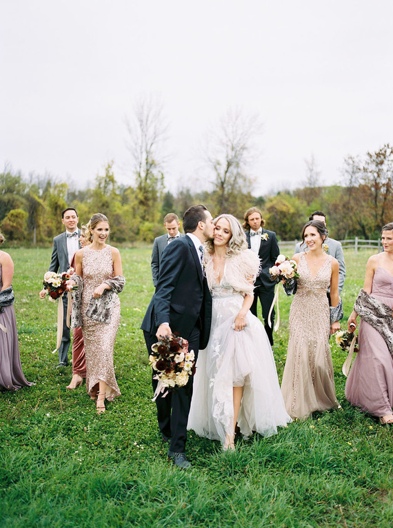 Amazing Winter Wedding Party Fashion At This Sweet And Inspired Cider House Wedding