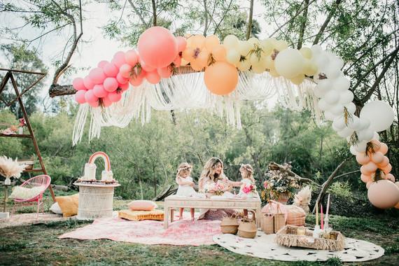 Rainbow alpaca girl's birthday party for twins