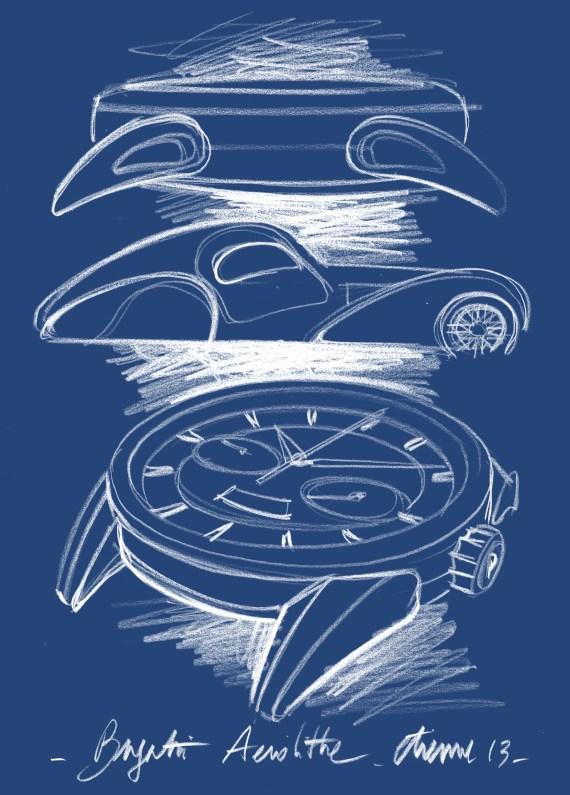 PARMIGIANI Bugatti Aérolithe_Zeichnung Auto und Uhr Profil