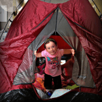 Indoor campout - set up a tent in the family room
