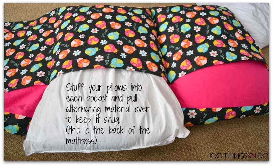Create a fold up chair/mattress with pillows!
