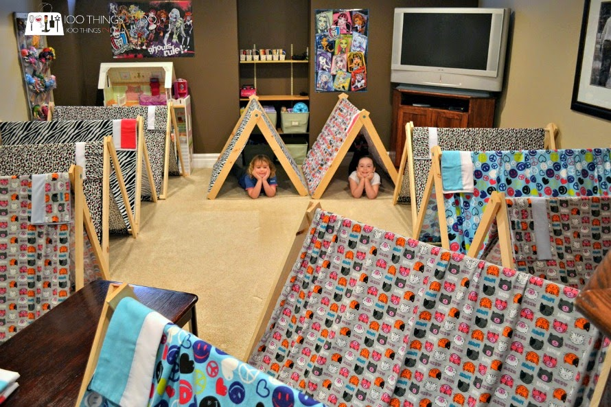 A-frame tents for sleepover party