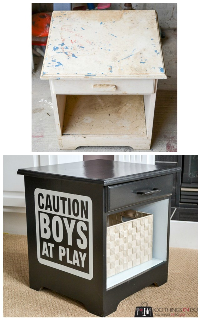 Lego storage, Lego table, Boys at Play, nightstand makeover, repurposed nightstand