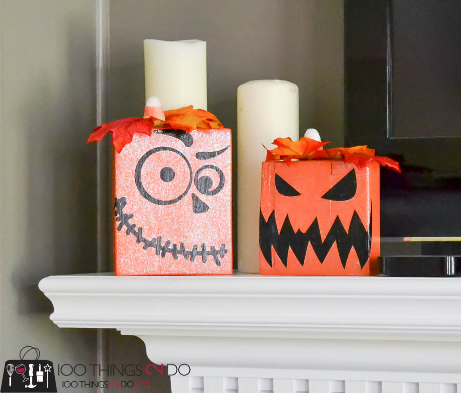 Scrap wood jack-o-lantern, jack-o-lantern, DIY jack-o-lantern, wood pumpkins, DIY Hallowe'en decor, DIY Halloween pumpkins