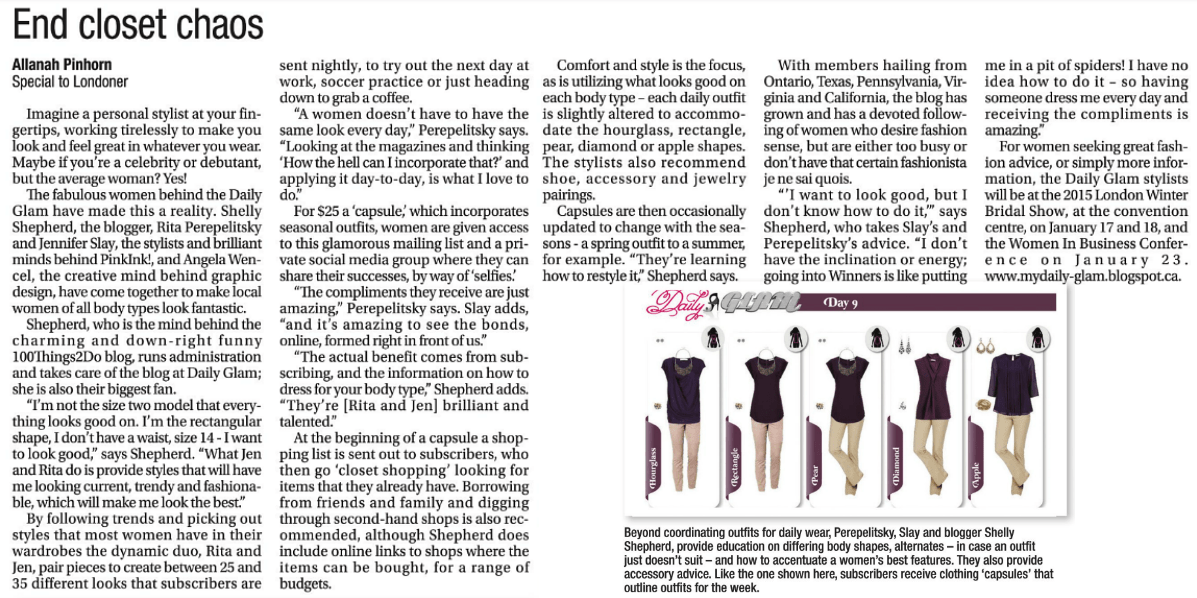 "screen shot of January 2015 article in Londoner ""End Closet Chaos"""