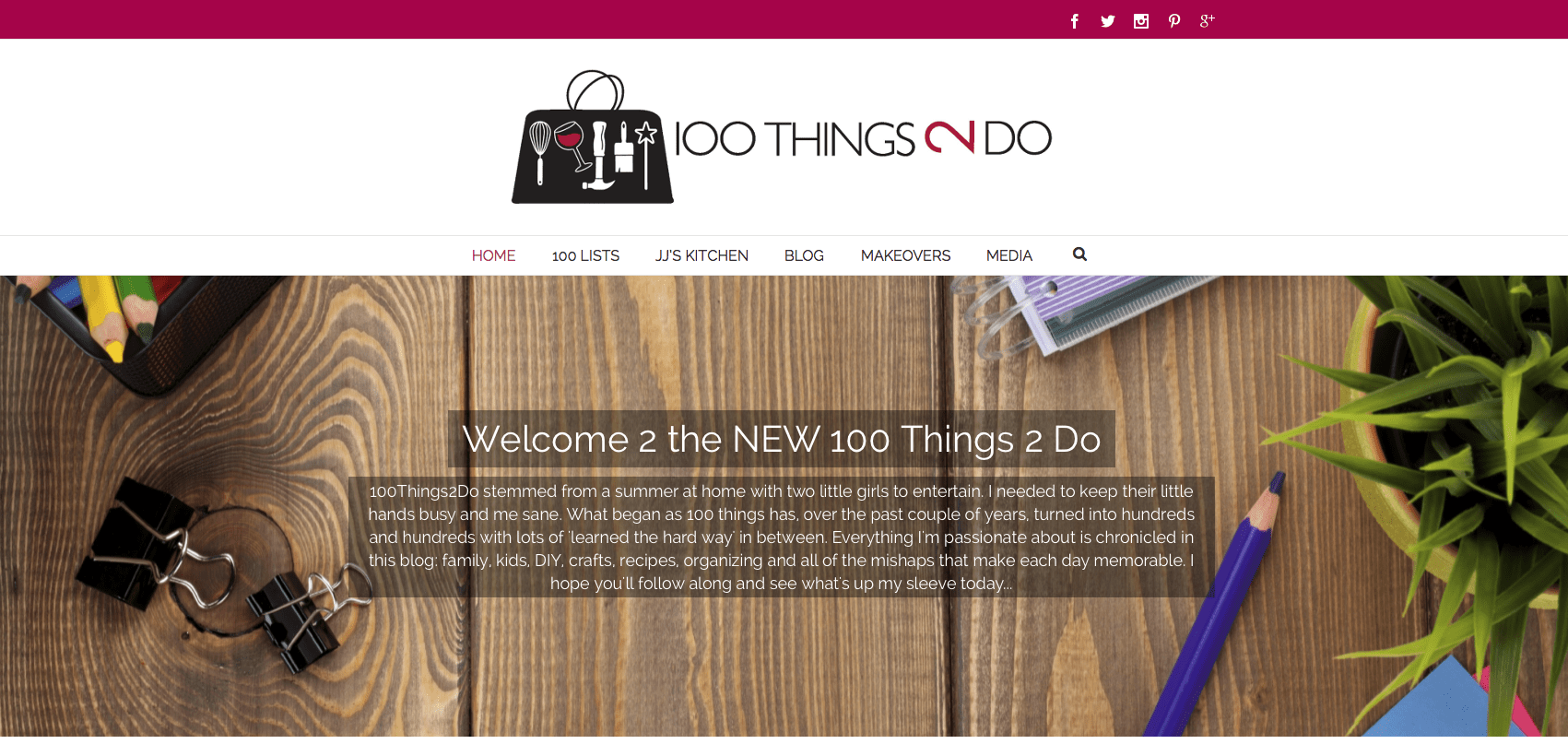 Screen shot of homepage of 100Things2Do website