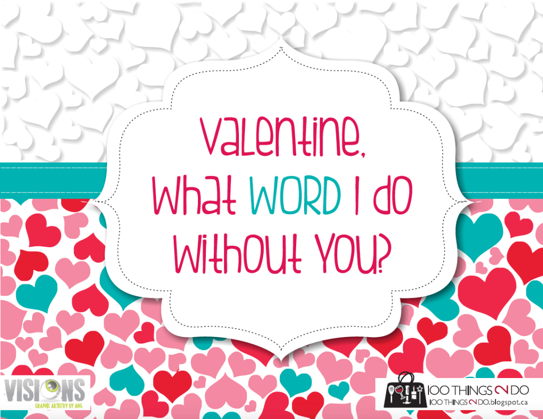 front of word search valentine