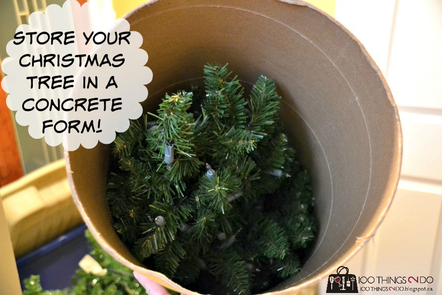 Artificial Christmas tree stuffed inside a concrete form tube - with caption indicating as such