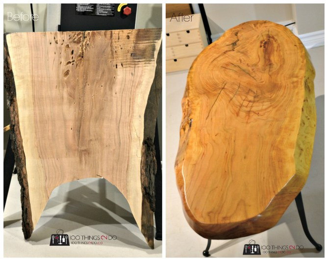 Before and after: tree trunk turned coffee table