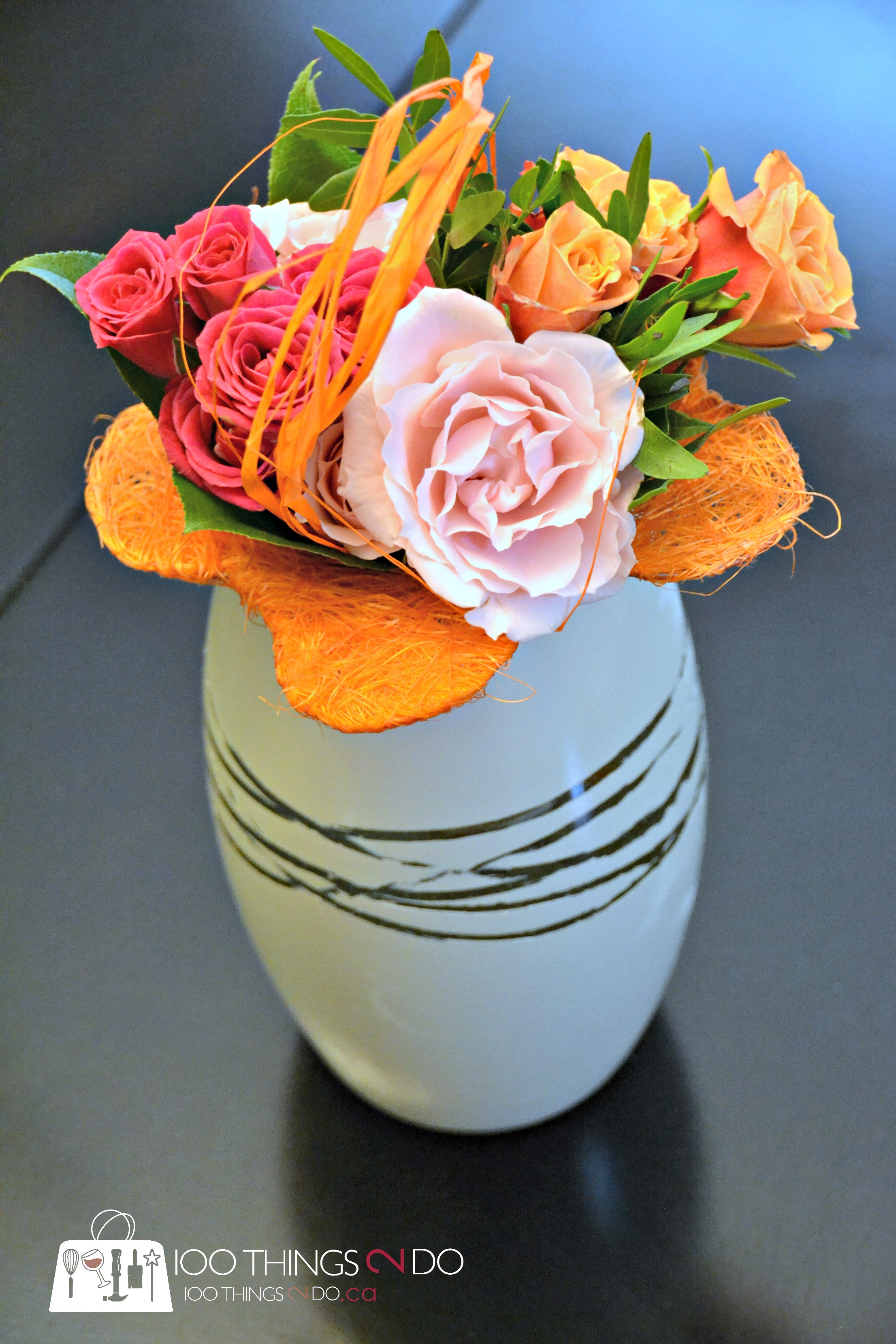 Vase with small bouquet