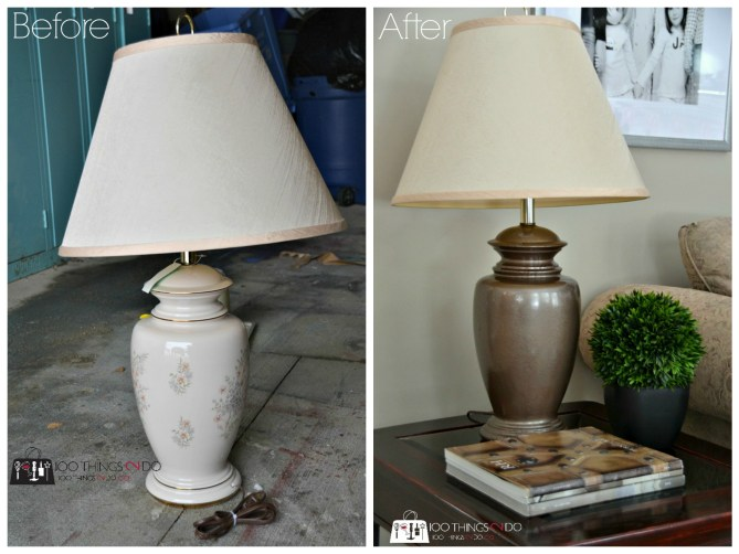 before and after shots of the lamp