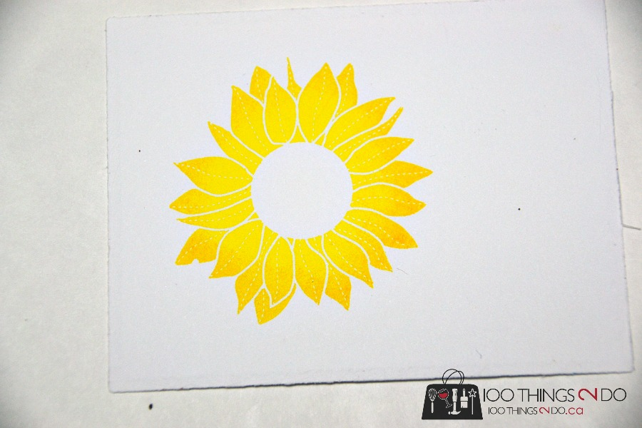Sunflower stamp using the rock and roll technique