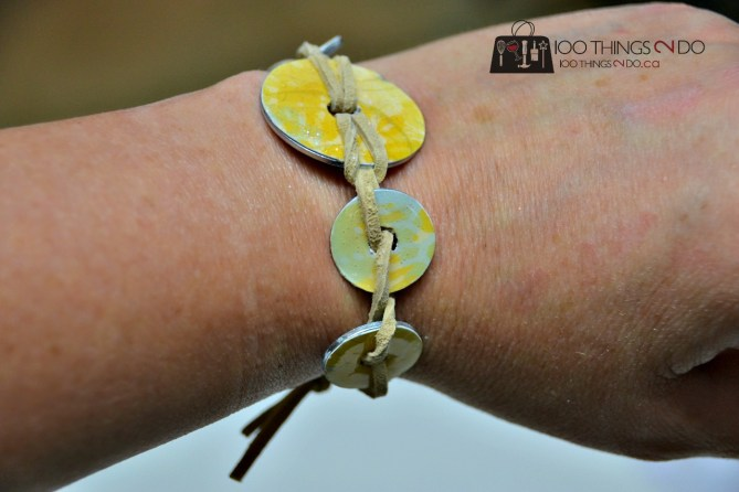 DIY jewelry - plumbing washers to make a bracelet