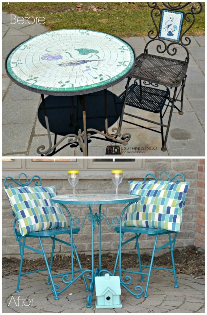 Bistro set makeover - before and after