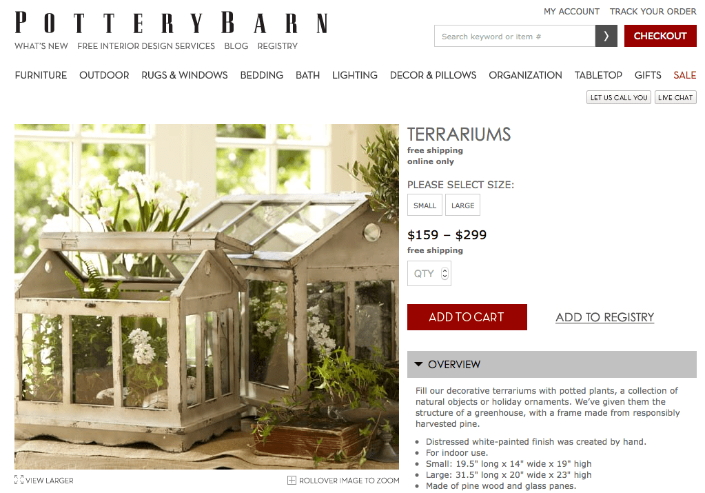 Tabletop Greenhouse / Terrarium by Pottery Barn