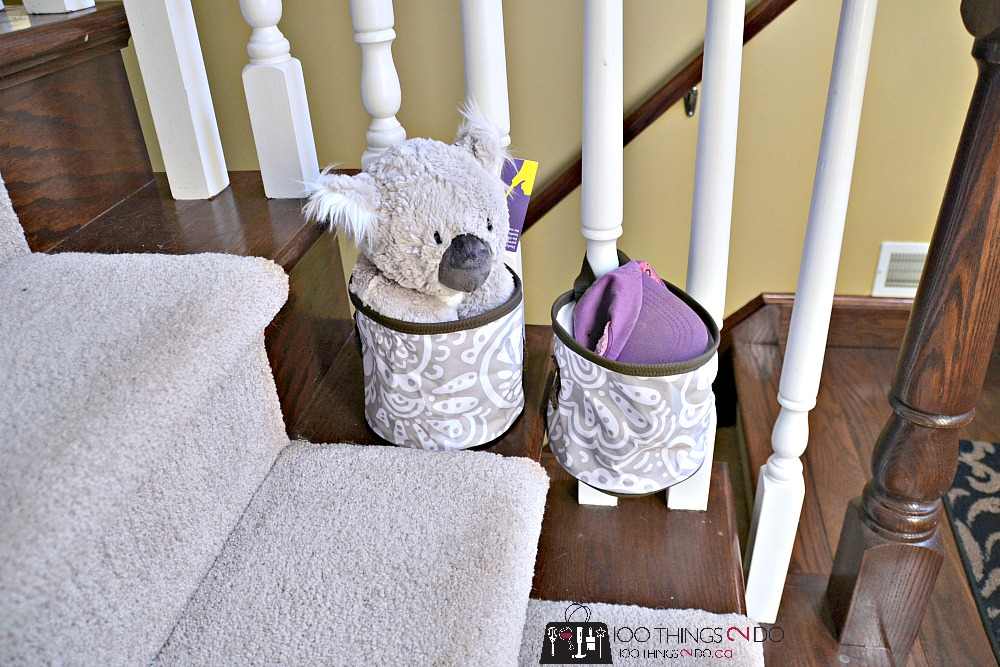 100 ways to use Thirty-One, Thirty-One gifts, Thirty-One totes, thirty-one ideas, staircase storage