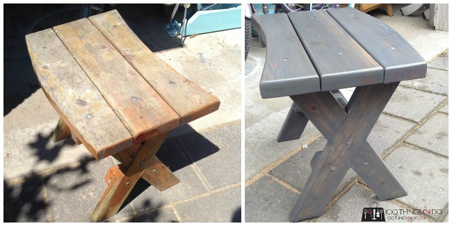 Side table makeover. Cedar side table, patio furniture