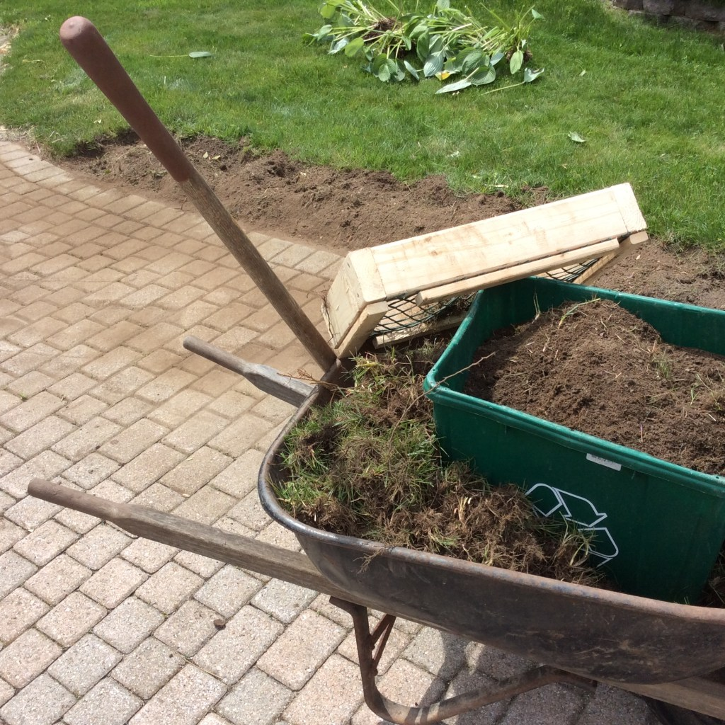 gardening hacks, remove soil from sod, sifting soil from sod, removing sod, saving soil