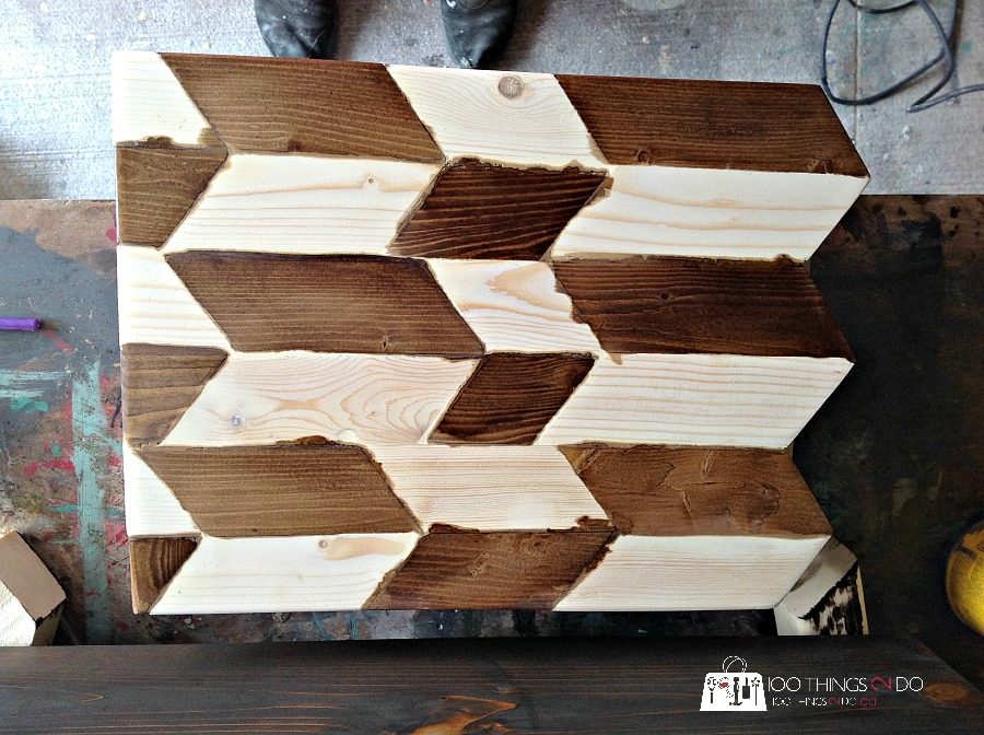 scrap wood tray, wood herringbone tray, wood tray, ottoman tray, herringbone pattern wood