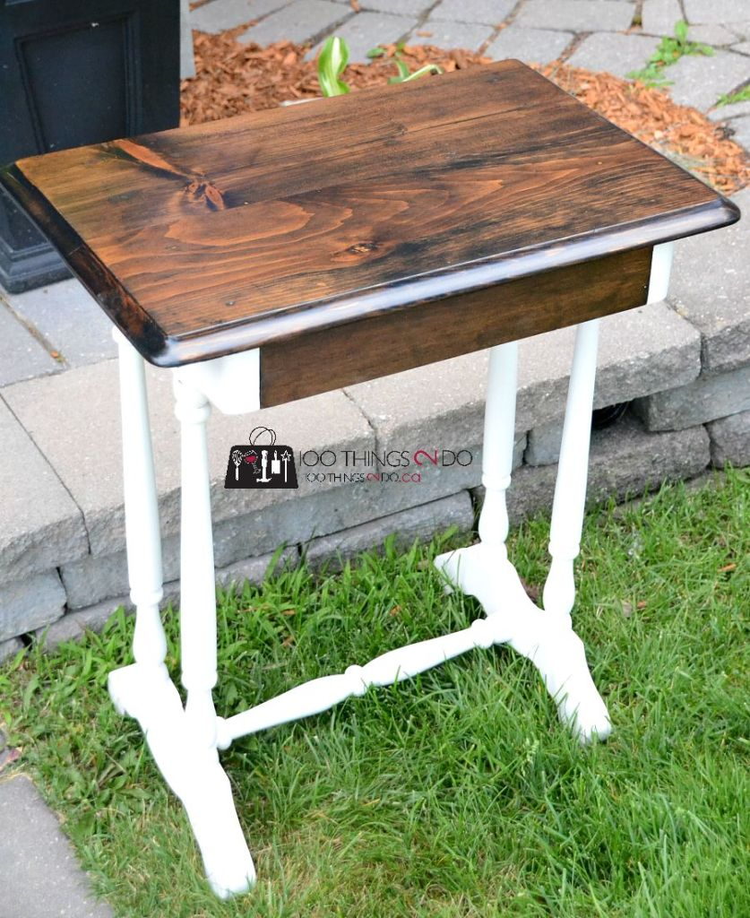 Refinished antique table, antique table, table makeover, side table makeover, antique makeover, refinishing antique furniture