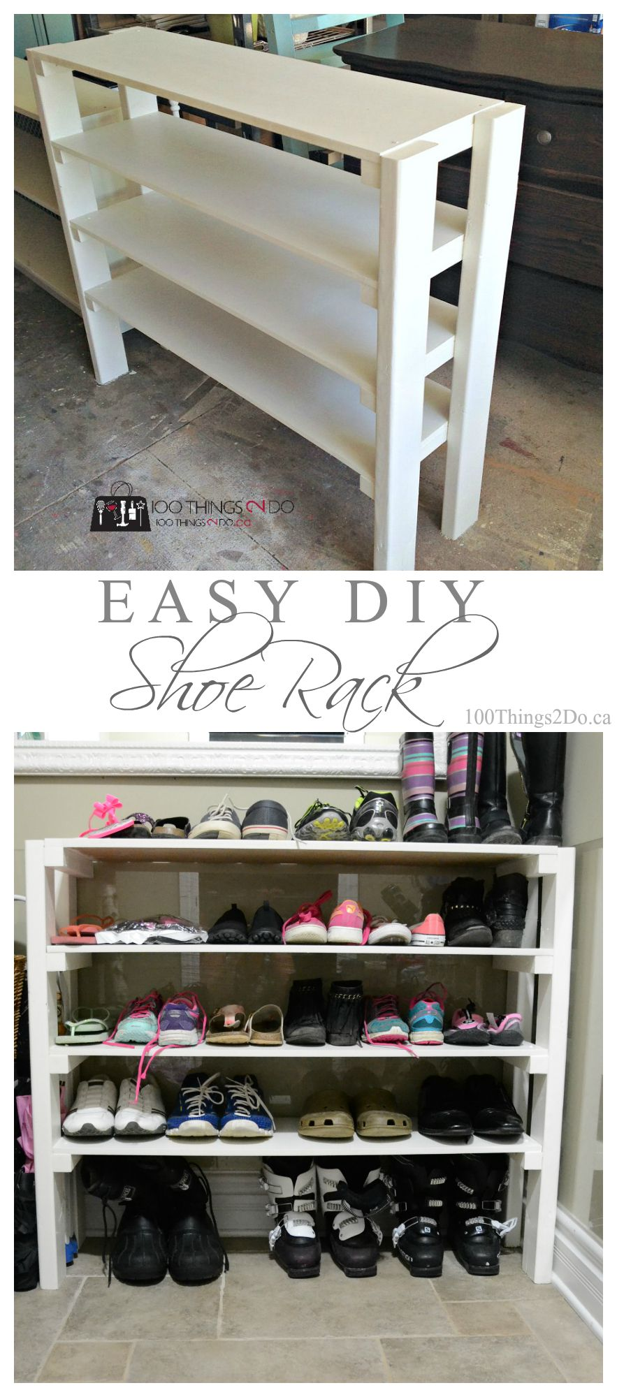 diy shoe rack 100 things 2 do. Black Bedroom Furniture Sets. Home Design Ideas