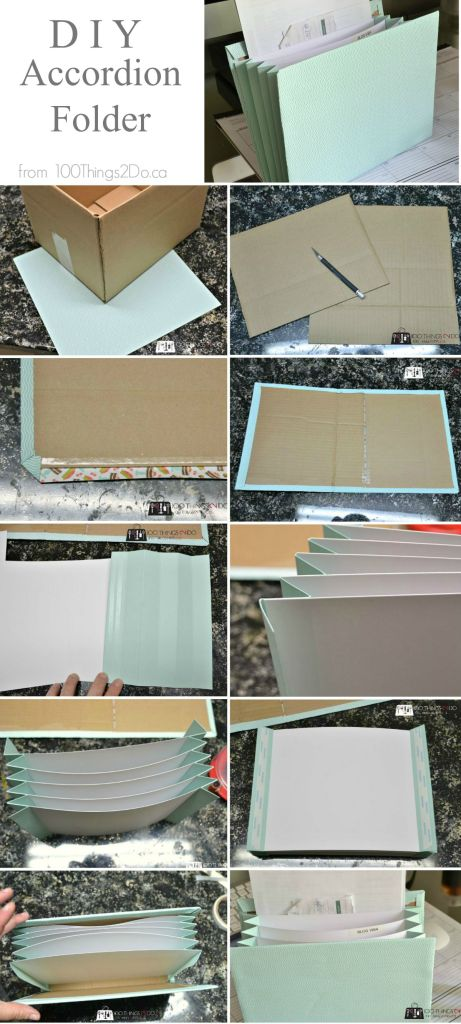 DIY Accordion folder from scrapbook paper and cardboard