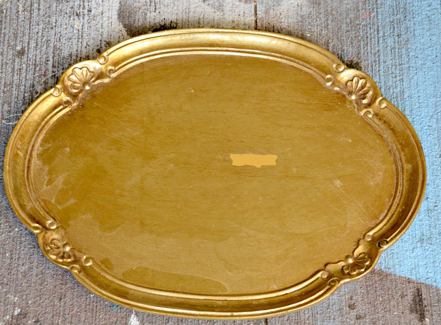 Garage sale tray madeover to breakfast serving tray - antique style!
