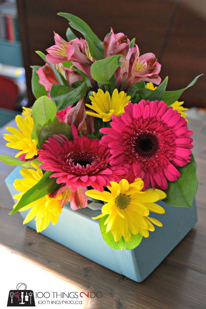 DIY floral arrangement including cedar box - compare to Olive and Cocoa's at $94!